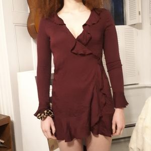 Urban outfitters wrap dress. Burgundy size S.